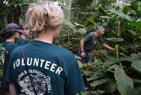 Naturschutz - Projektleiter Fernando stellt unseren Freiwilligen die Pflanzenarten des Amazonas - Regenwaldes vor.