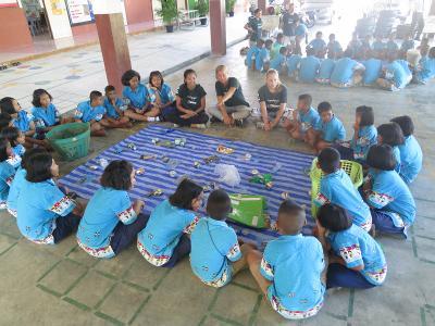 Mache Schüler in Workshops auf Umweltprobleme aufmerksam