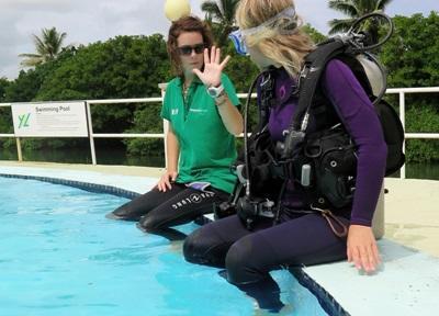 Freiwillige im Projekt mit Haien belegen den Divemaster – Kurs auf den Fidschi - Inseln