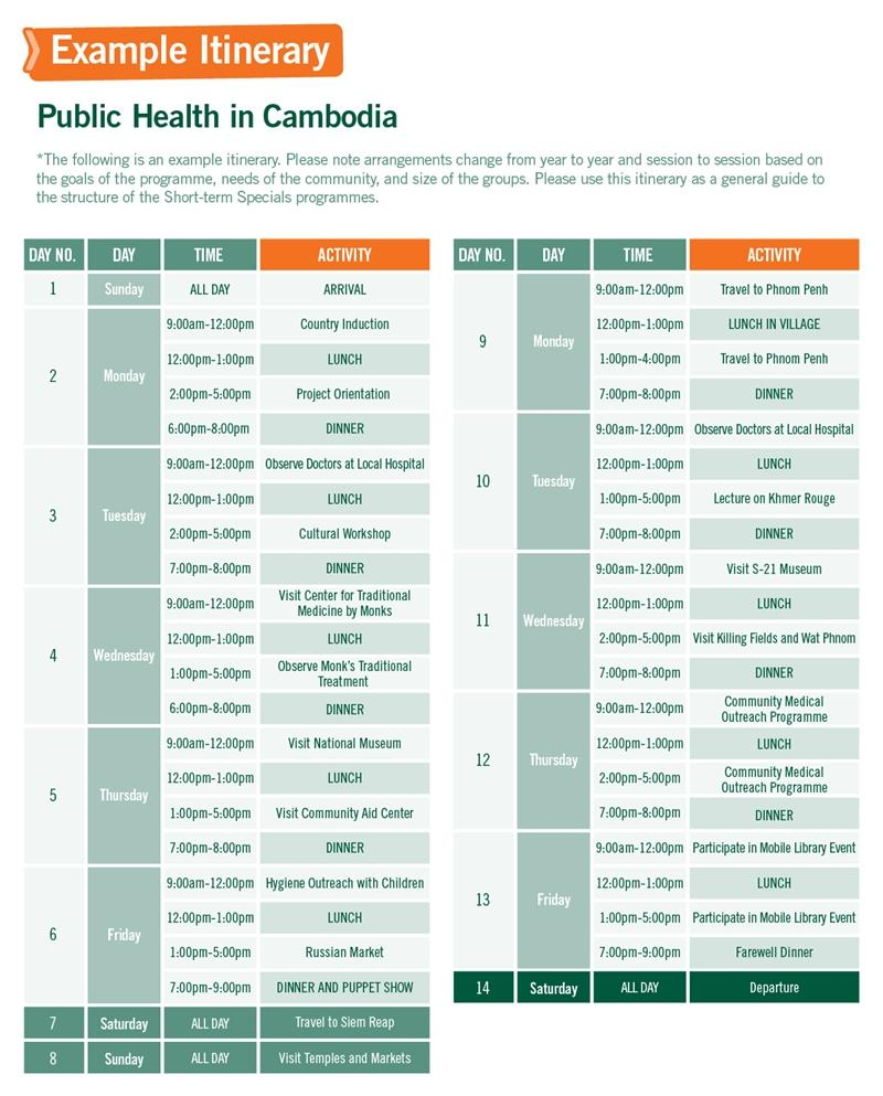 Short-term Special Volunteer Trips with Public Health in Cambodia