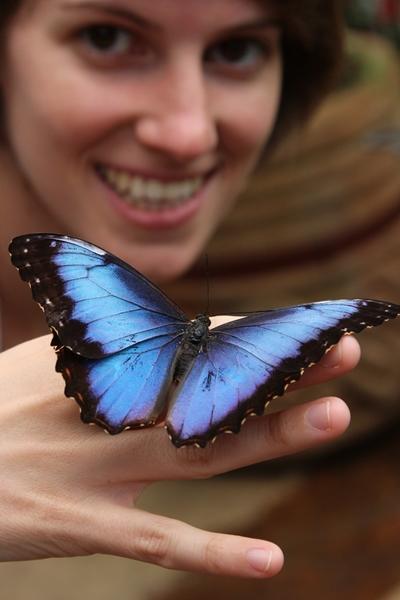 Eine Freiwillige von Projects Abroad hält einen Schmetterling auf ihrer Hand