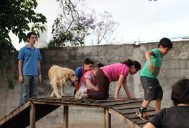 Gemeinsam mit dem Therapiehund überwinden die kleinen Patienten im Hundetherapie - Projekt in Argentinien ihre Höhenangst und gewinnen so mehr Selbstvertrauen.