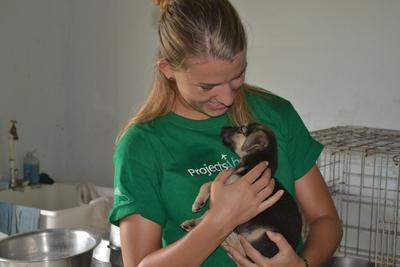 Eine Freiwillige kümmert sich um einen geretteten Welpen