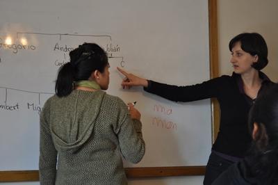 Freiwillige mit Lehrerin beim Quechua lernen